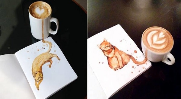 Cute Cat Illustrations With The Help of Some Spilled Coffee by Elena Efremova