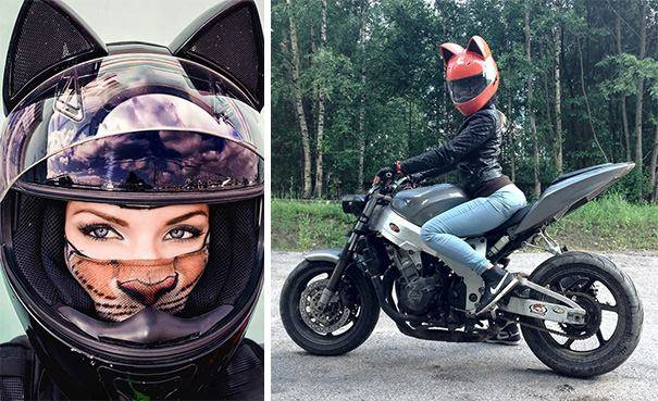 Cat Motorcycle Helmets Designed with the Crazy Cat Person in Mind