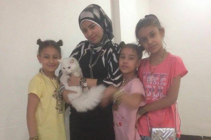 PHOTO: The family of five children and their mother took Kunkush with them in the boat to Lesbos. (Supplied: Reunite Dias)