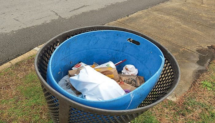 No control over garbage CCAC volunteer Lynne Hall says her group has no control over what people put in city trash cans like this one at Gilbert-Stephenson Park on Van Cleve Street. (Catoosa News Photo/Tamara Wolk)