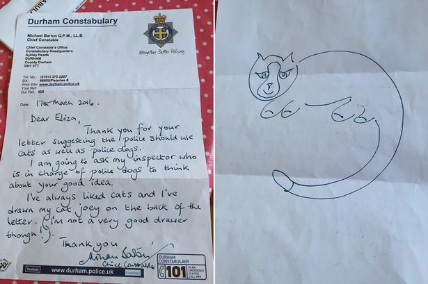 Chief Constable Barton drew a picture of his own cat Joey for Eliza