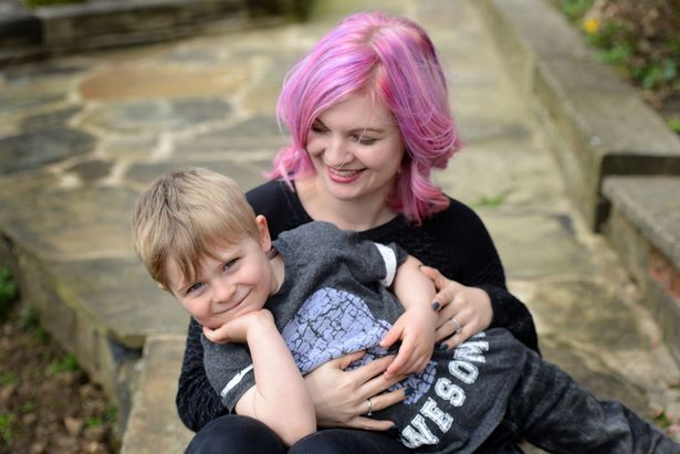 Anna Gough, pictured with son Theo, who is 22 years younger than Tammy.