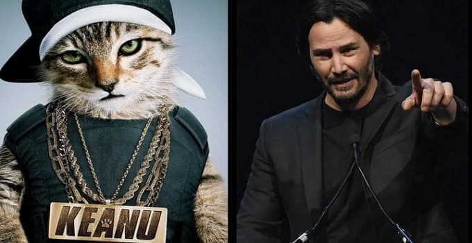 "Keanu Reeves, right, lent his voice to a cat of the same name in the comedy ""Keanu."" (New Line Cinema/Ethan Miller/Getty Images)"