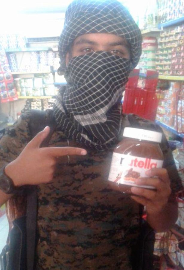 Jihadi Abu Dujana tweeted this picture of him holding a jar of Nutella