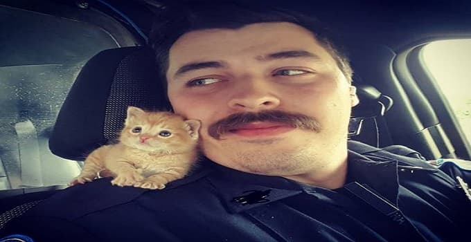 Police Officer Rescues Ginger Kitten and Now They Are Best Buds!