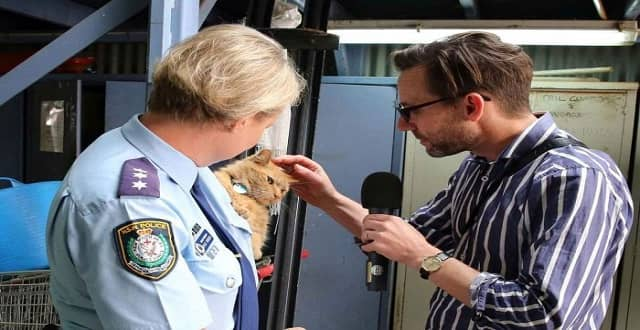PHOTO: Sergeant Kylie Riddell helps Robbie Buck during his interview with Troop Cat Ed. (Supplied: NSW Police)