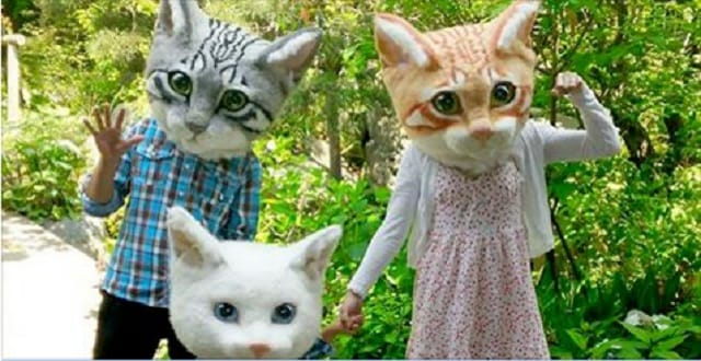 Aren't These Giant Cat Heads the Creepiest Halloween Costumes Ever?
