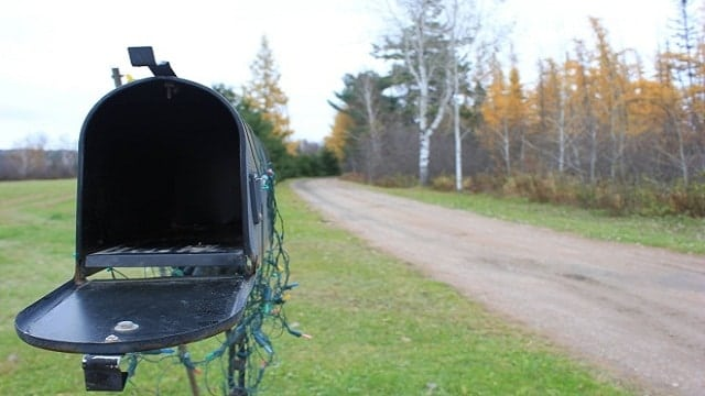 The Armitage family's tin mailbox is located about 350 metres away from their home. (Provided)