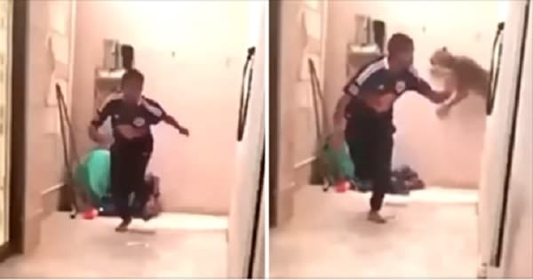 Terrified Man Darts Quickly Around The Corner, But A Vicious Leopard Is Still Right Behind Him!