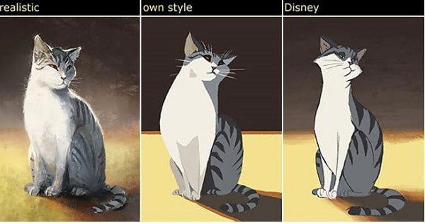 Artist Draws Her Own Cat In 12 Different Styles Including Disney, Dr. Seuss, and Tim Burton