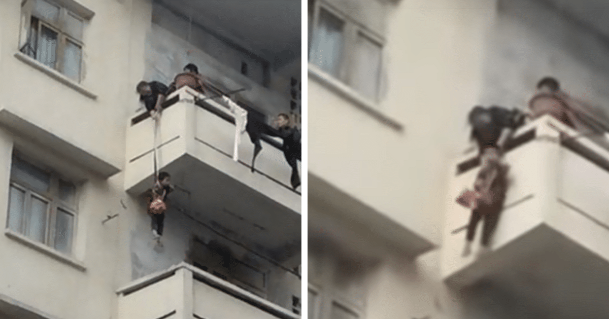 Chinese Granny Dangles Grandchild on a Rope To Rescue a Cat